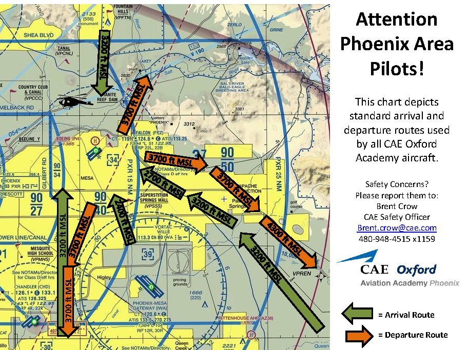 Routes overlay on Terminal Area Chart for PHX