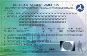 Sample U.S. pilot certificate